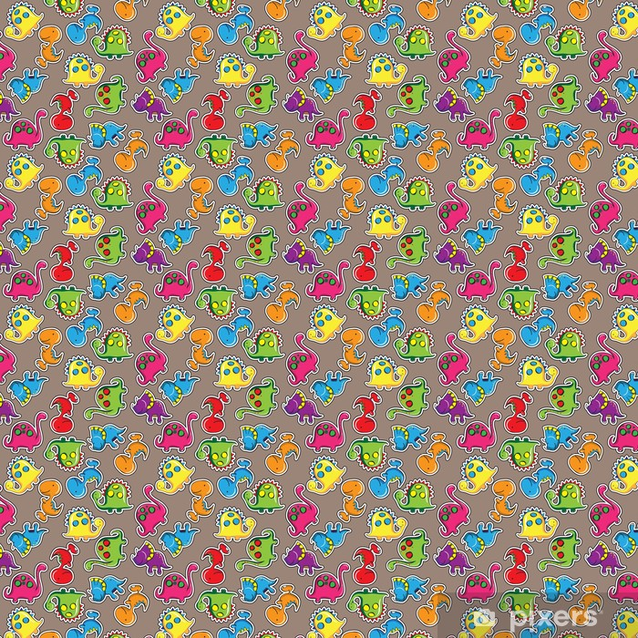 Tapeta na wymiar winylowa Seamless pattern - Cute dinozaury - Dla przedszkolaka