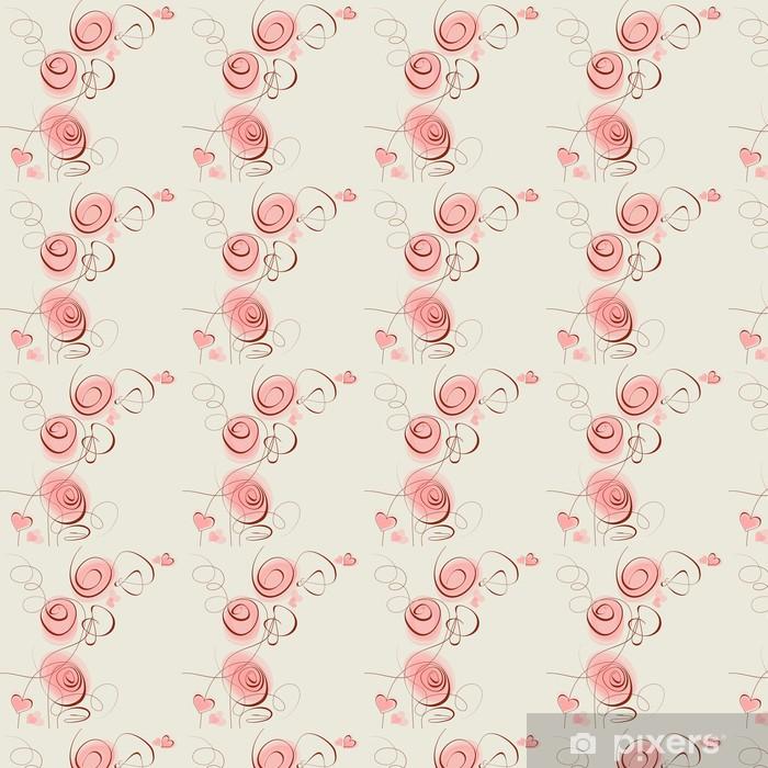 Carta da parati in vinile su misura Fiori rosa e cuori - Spazio da decorare