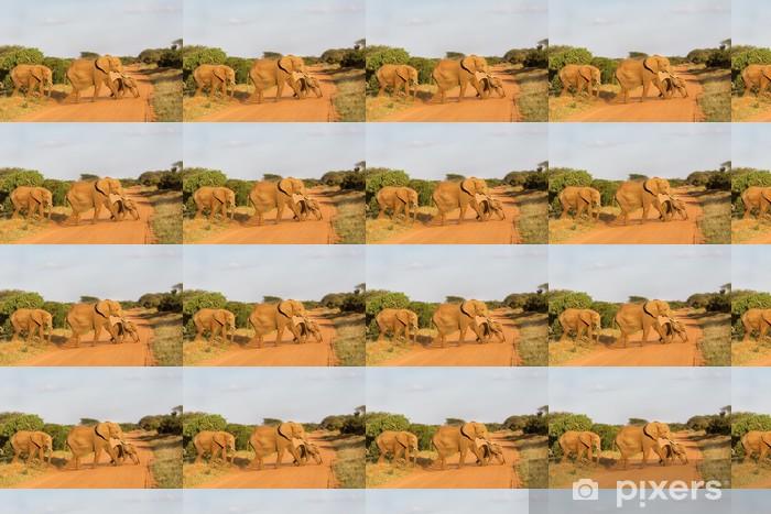 African Elephant family crossing the road in Tsavo, Kenya Vinyl custom-made wallpaper - Themes