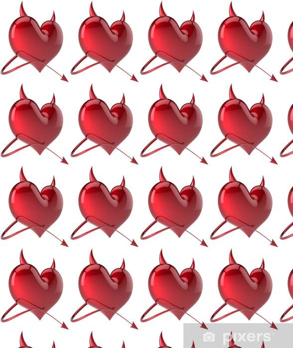 Devil Heart Love Passion Sexy Symbol Horned Total Red Wallpaper Vinyl Custom Made