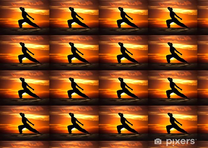 Papier peint vinyle sur mesure Martial Arts Fitness au coucher du soleil - Thèmes