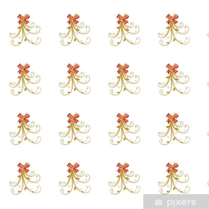 NOEUD ROUGE OR RUBAN Vinyl custom-made wallpaper - International Celebrations