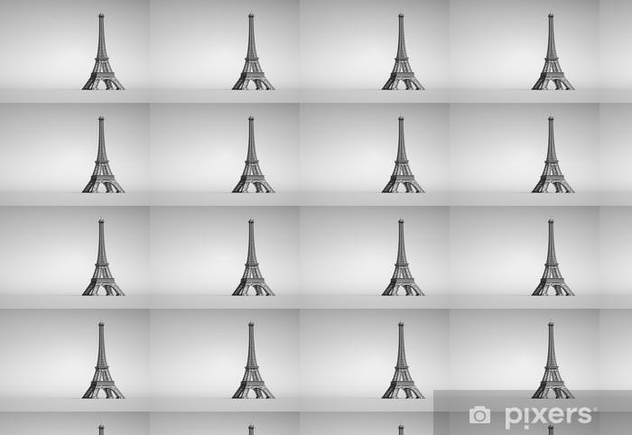 Vinyltapete nach Maß Eiffelturm in Paris. 3D-Darstellung auf weißem Hintergrund. - Europa