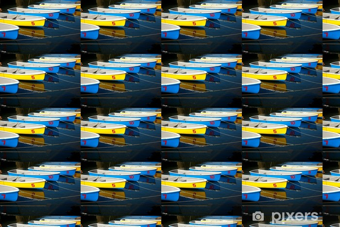 Tapeta na wymiar winylowa Wiersz kolorowe niebieskie i żółte łodzi - Transport wodny