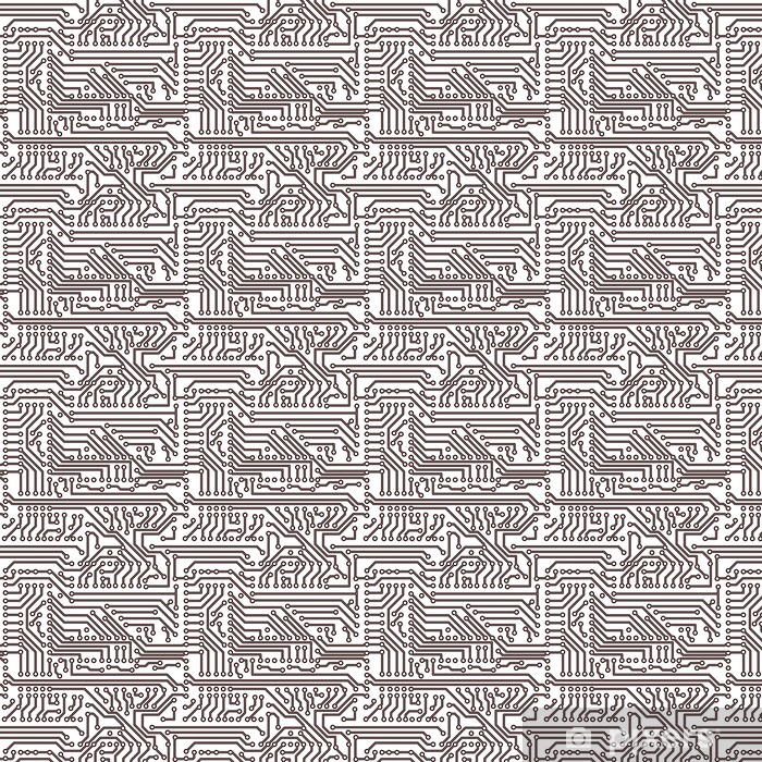 Vector seamless pattern - electronic circuit board background Vinyl custom-made wallpaper - Applied and Fundamental Sciences