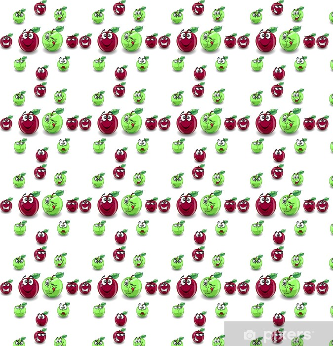 Vinylová tapeta na míru Красное и зеленое яблоко с различными эмоциями - Jiné pocity