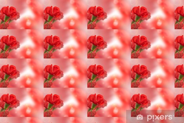 Tapeta na wymiar winylowa Piękny czerwony kwiat goździka na naturalnym tle rozmytych - Rośliny