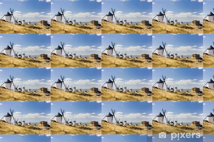 Papier peint vinyle sur mesure Moulins à vent avec le château, Consuegra, Castille-La Mancha, Espagne - Europe