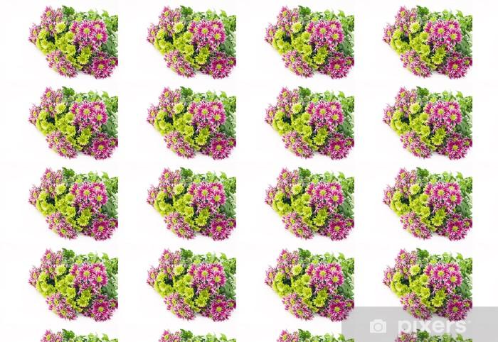 Tapeta na wymiar winylowa Bukiet z różowych i zielonych chryzantem - Kwiaty