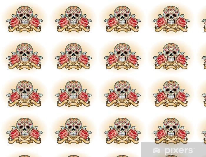 Carta da parati in vinile su misura Giorno dei morti - cranio con rose - America