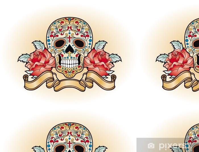 Papier peint à motifs vinyle Dia Muertos de - crâne avec des roses - Amérique