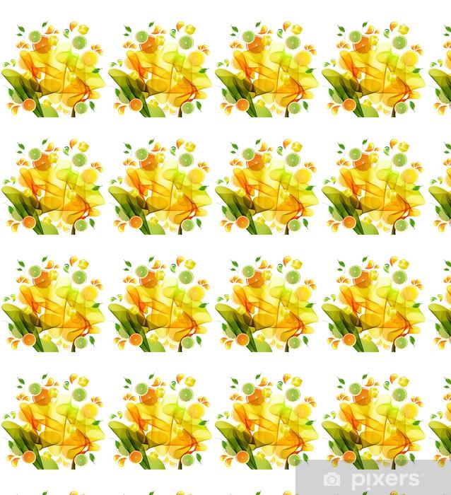 Vinyl behang, op maat gemaakt Sinaasappel, citroen en limoensap splash - Muursticker