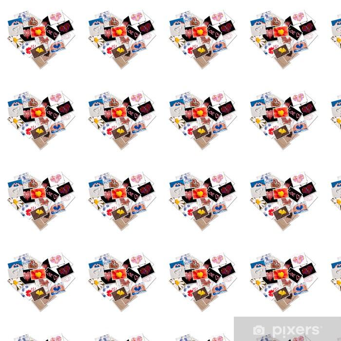 Papier peint vinyle sur mesure Collage de coeur de photos - Bonheur