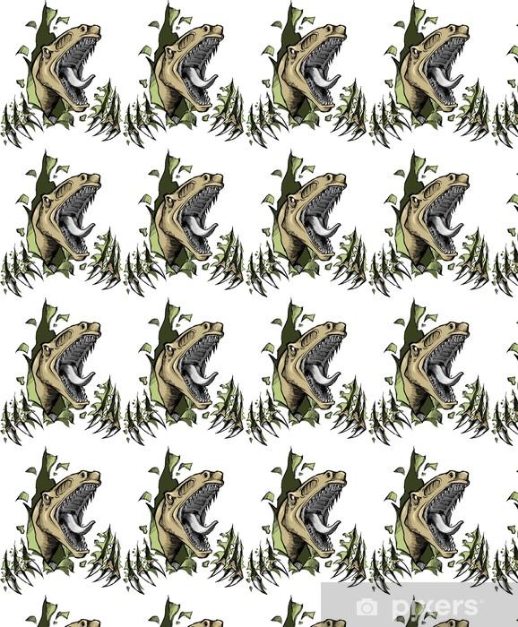 Papier peint vinyle sur mesure Sketch Doodle Illustration Vecteur Raptor dinosaure - Autres Autres