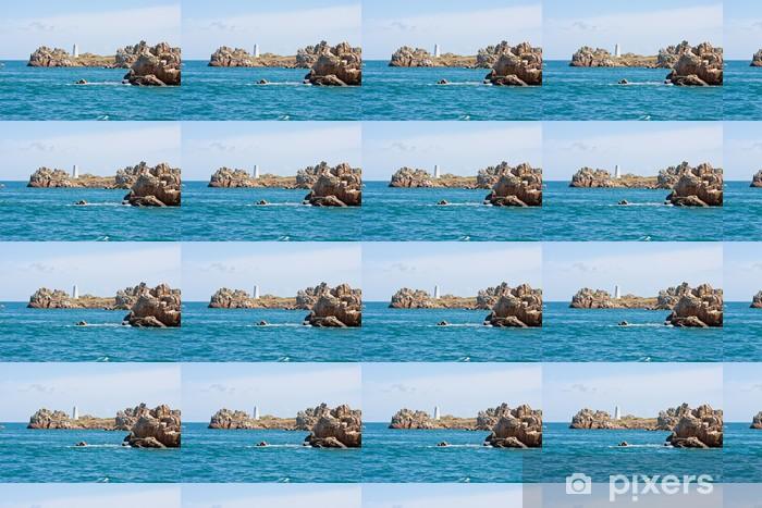 Rocky coast with landmark in Brittany, France Vinyl custom-made wallpaper - Water