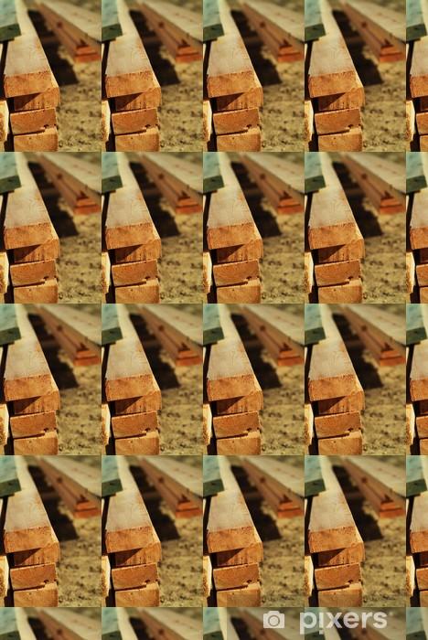 Papel de parede em vinil à sua medida stack of lumber - Casa e Jardim