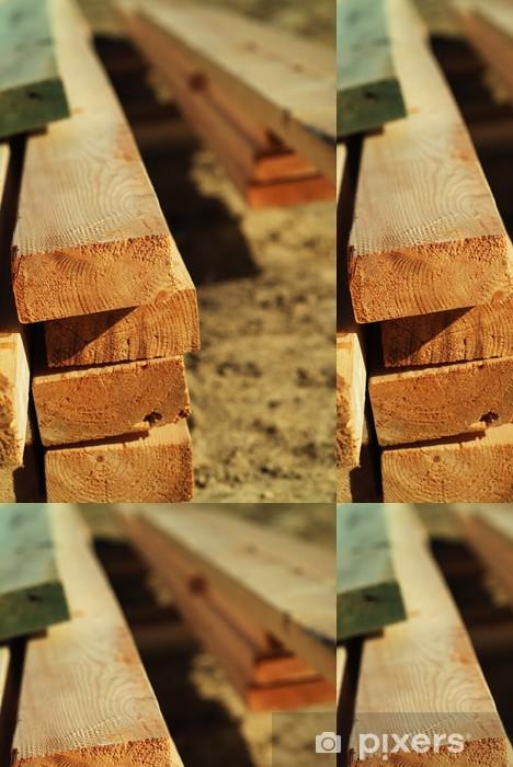 Vinyltapete Stapel von Holz - Haus und Garten