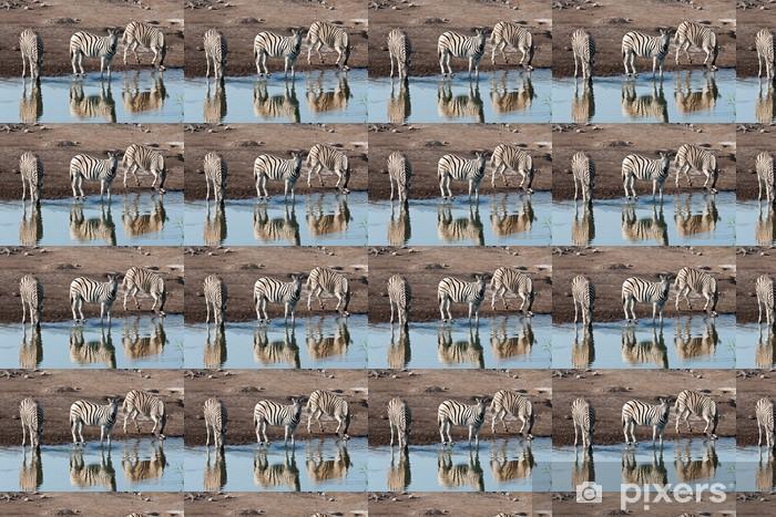 Vinylová tapeta na míru Zebry pití - Afrika