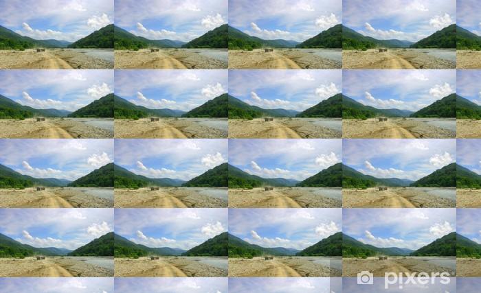 Papier peint vinyle sur mesure Paysage avec des montagnes, la route, le ciel et fleuve - Montagne