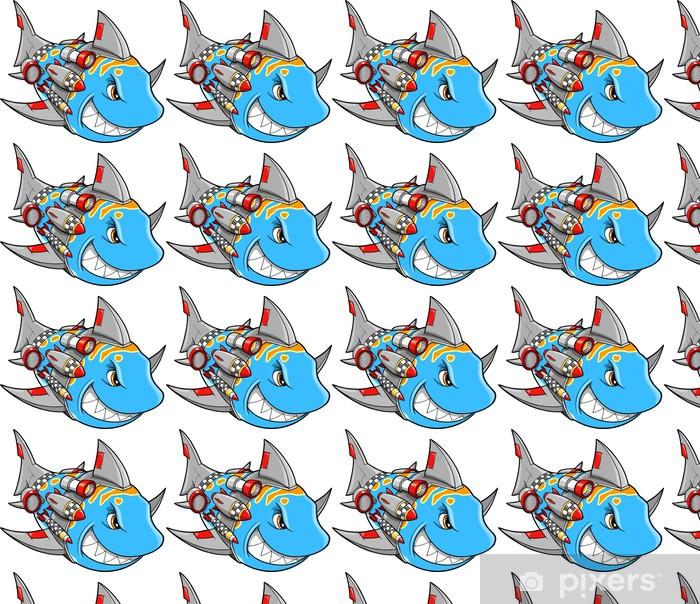 Tapeta na wymiar winylowa Mean Metal Armed Cyborg Robot Shark ilustracji wektorowych - Naklejki na ścianę