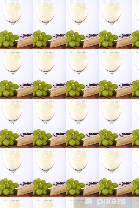Wein Trauben mit Weiswein und Käse, close up Vinyl custom-made wallpaper - Cheeses