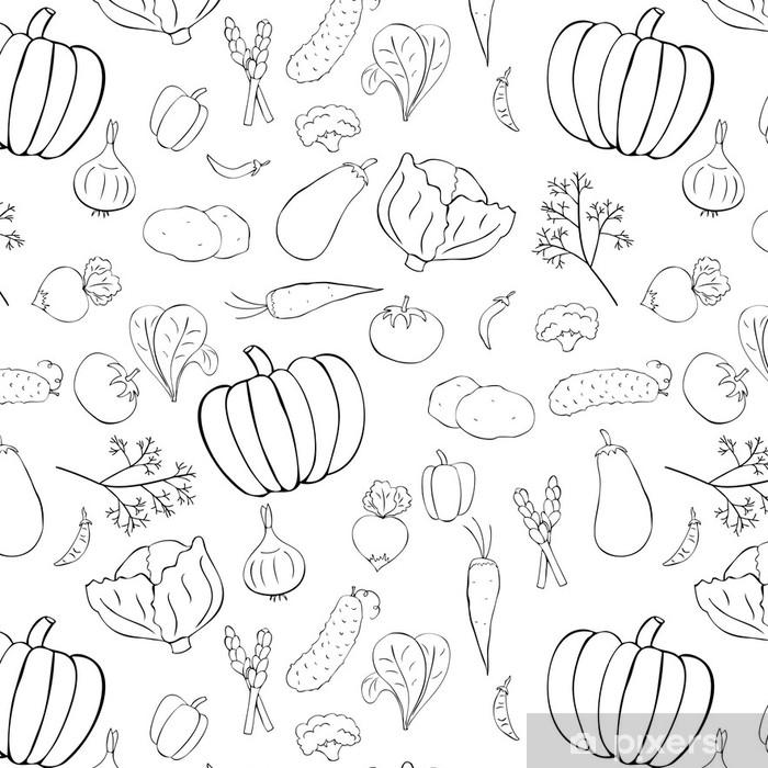 Vinyl Behang Naadloos patroon met grafische groenten - Maaltijden