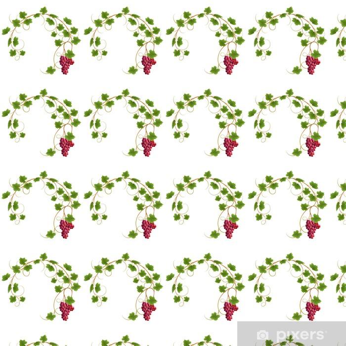 Papier peint vinyle sur mesure Vigne rouge sur fond blanc - Plantes