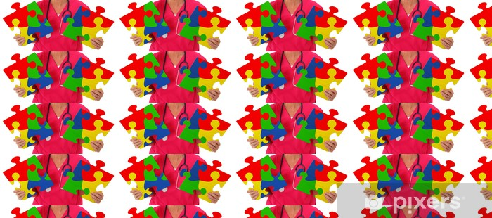 Nurse Holding Two Puzzle Pieces Representing Autism Awareness Vinyl Custom-made Wallpaper - Health and Medicine