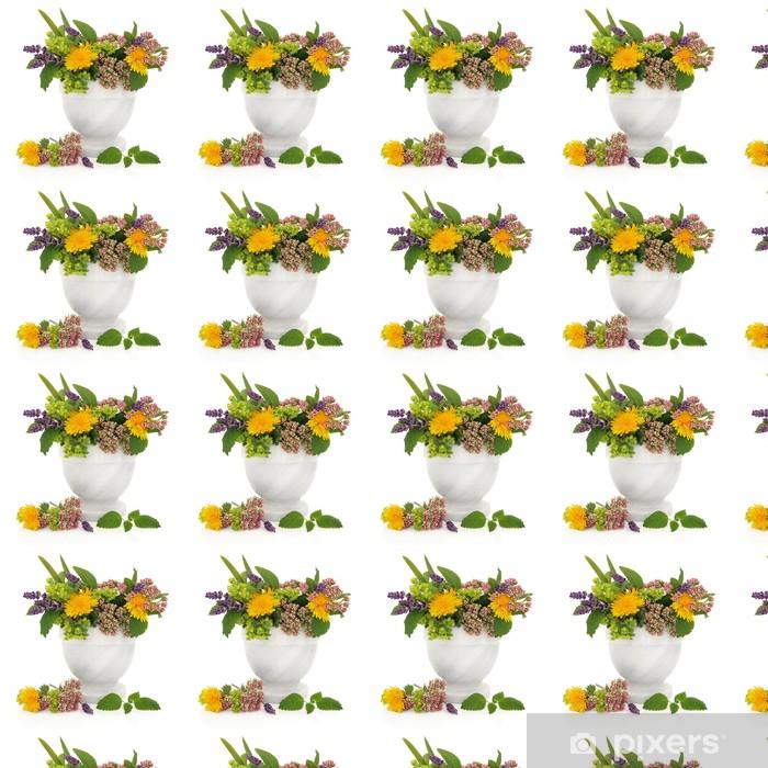 Papier peint vinyle sur mesure Herbes curatives et fleurs - Santé et médecine