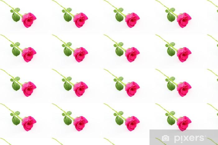 Vinylová tapeta na míru Jednotný růžové růže na bílé podlaze. - Květiny