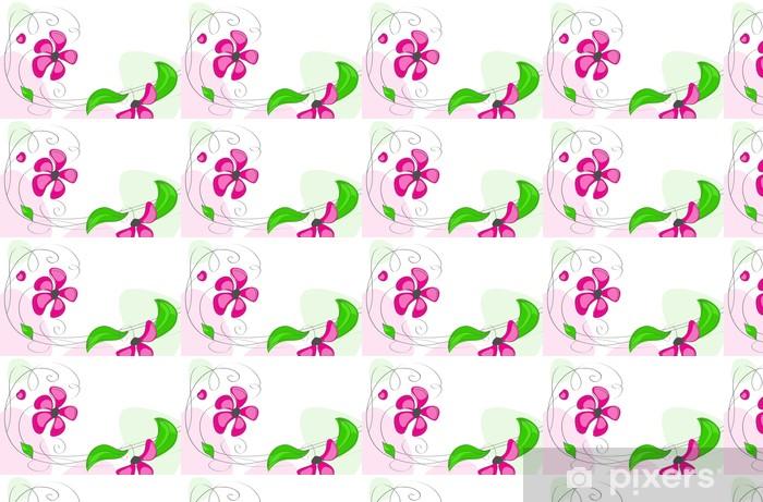 Özel Boyutlu Vinil Duvar Kağıdı Beyaz zemin üzerine pembe çiçekler - Arka plan