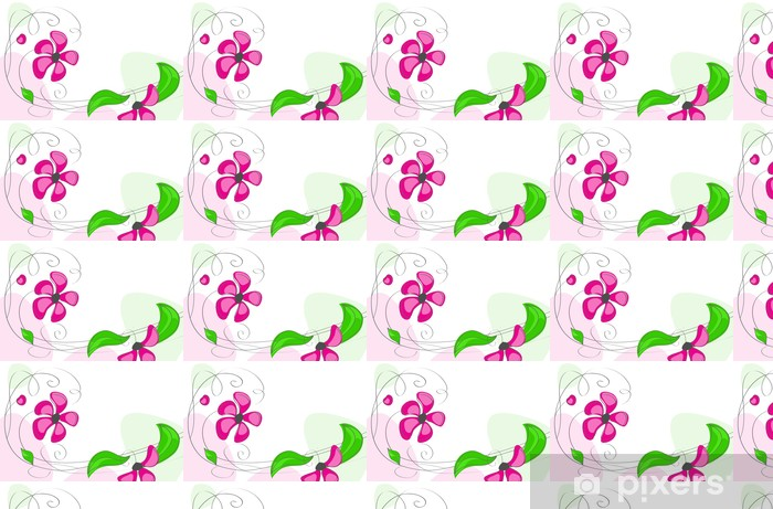 Papel pintado estándar a medida Flores de color rosa sobre un fondo blanco - Fondos