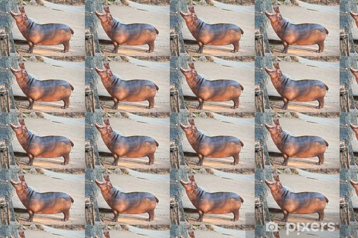 Papier peint vinyle sur mesure Hippopotames Affichage mâchoire et des dents énormes - Mammifères