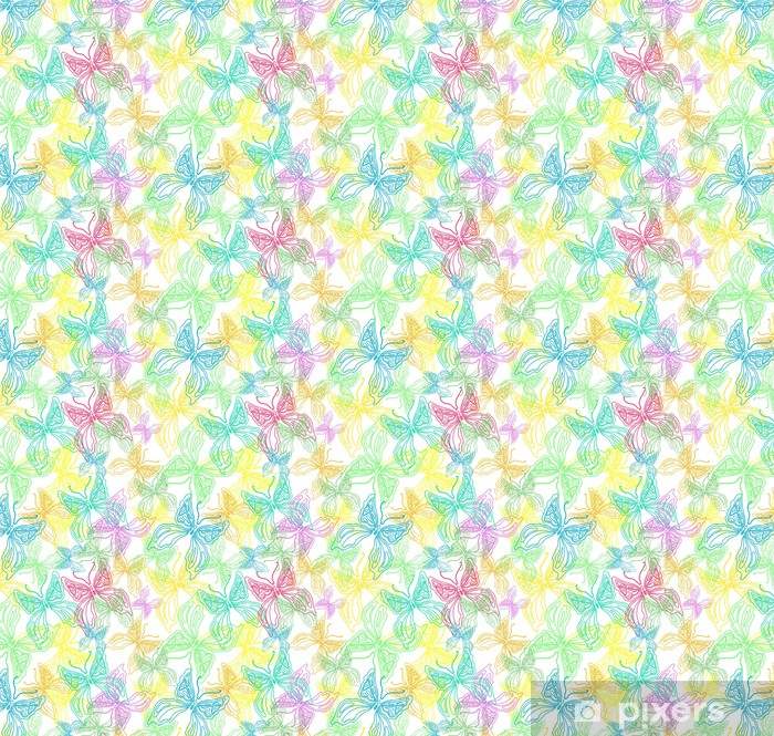 Seamless color background with cute butterfly Vinyl custom-made wallpaper - Seasons