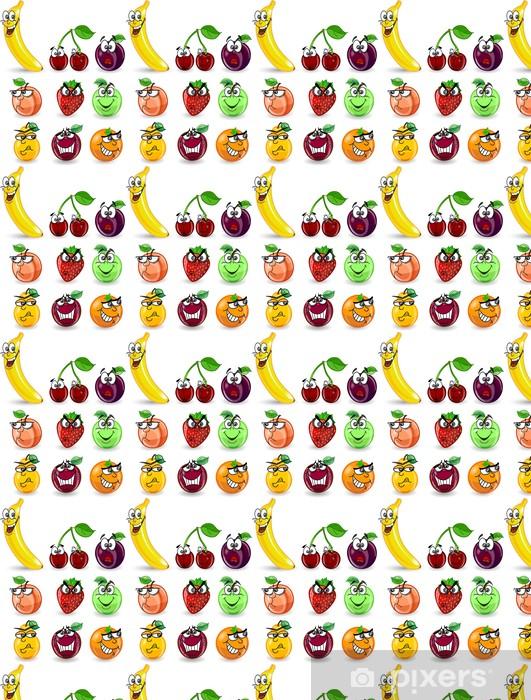 Tapeta na wymiar winylowa Cartoon pomarańcza, banan, jabłko, gruszka, brzoskwinia, śliwka - Owoce
