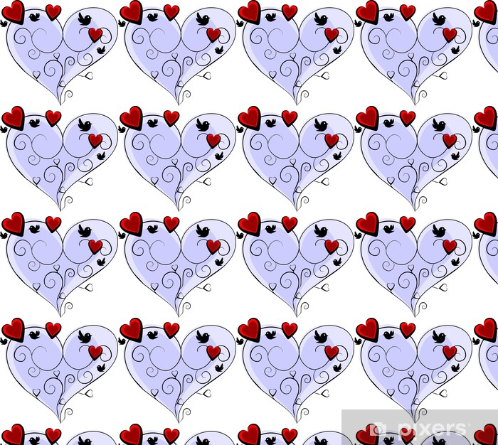 Tapeta na wymiar winylowa Romantic blue serca z trzech czerwonych serc i czterech ptaków - Fikcyjne zwierzęta