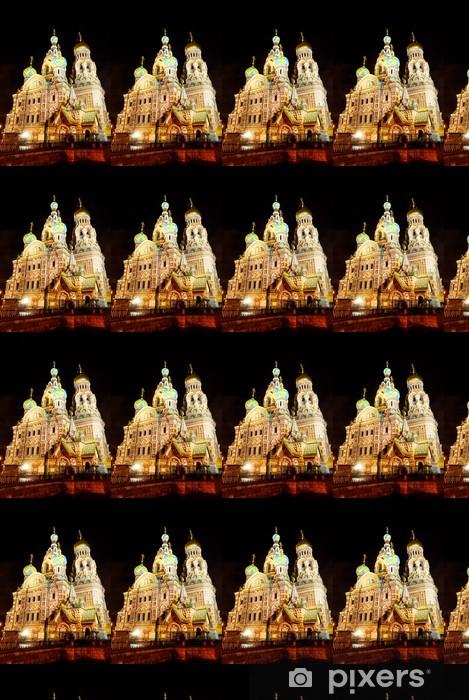 Papier peint vinyle sur mesure Eglise du Sauveur sur le Sang de Sait-Pétersbourg par nuit - Bâtiments publics