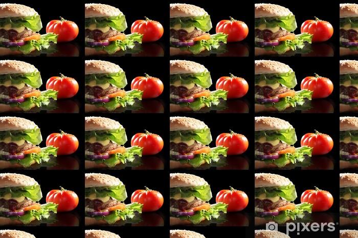 Tapeta na wymiar winylowa Soczysty hamburger z pomidorem w tle - Tematy