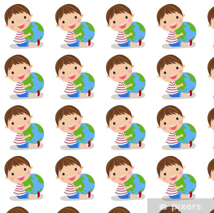 cute boy holding the globe Vinyl custom-made wallpaper - Children