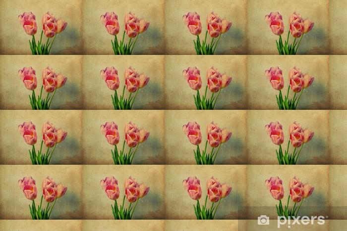 Vinylová tapeta na míru Obraz s růžovými tulipány - Květiny