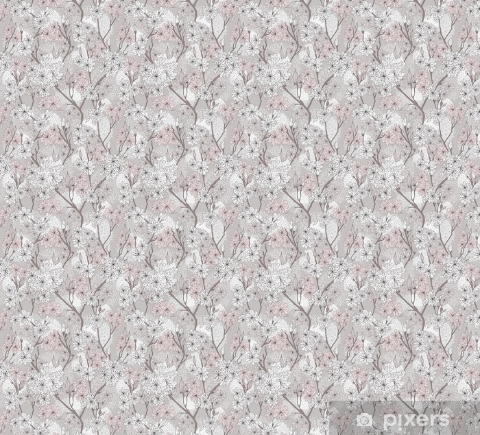 Seamless cherry blossom flowers pattern. Abstract floral pattern Vinyl custom-made wallpaper -