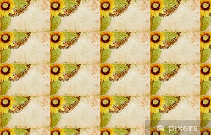 Tapeta na wymiar winylowa Grunge tle retro z słoneczniki i przestrzeni kopii - Sztuka i twórczość