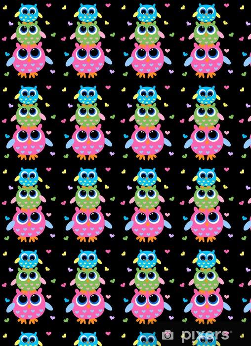 Papel de parede em vinil à sua medida three colorful sweet owls - Temas