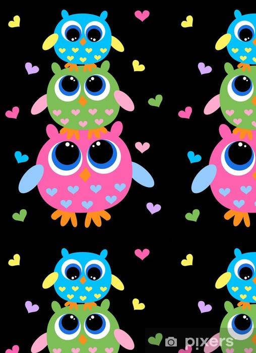 Kolme värikkäitä makea pöllöt Vinyylitapetti -