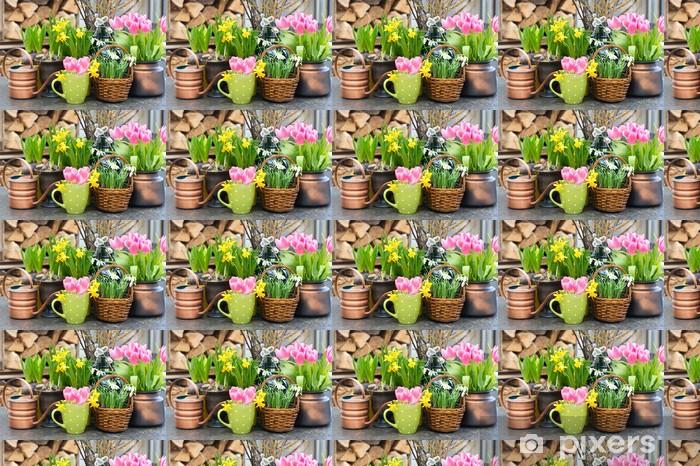 Vinyltapete nach Maß Tulpen, Schneeglöckchen und Narzissen Blüten - Blumen