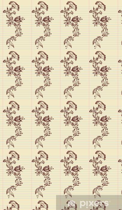 Papel pintado estándar a medida Sketch Doodle Henna Flores elegantes y vides Vector - Flores