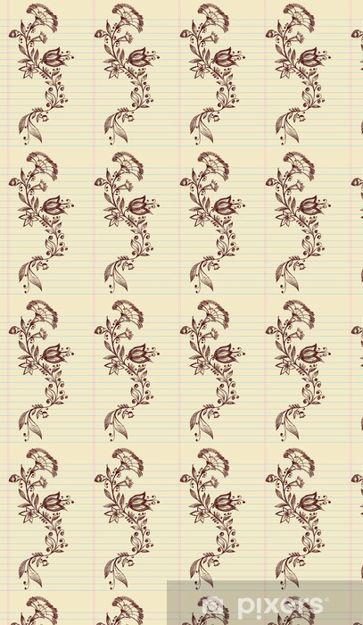 Sketch Doodle Henna Elegant Flowers and Vines Vector Vinyl custom-made wallpaper - Flowers