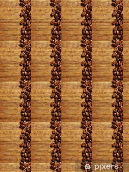 Vinylová tapeta na míru Kávová zrna na dřevo - Témata