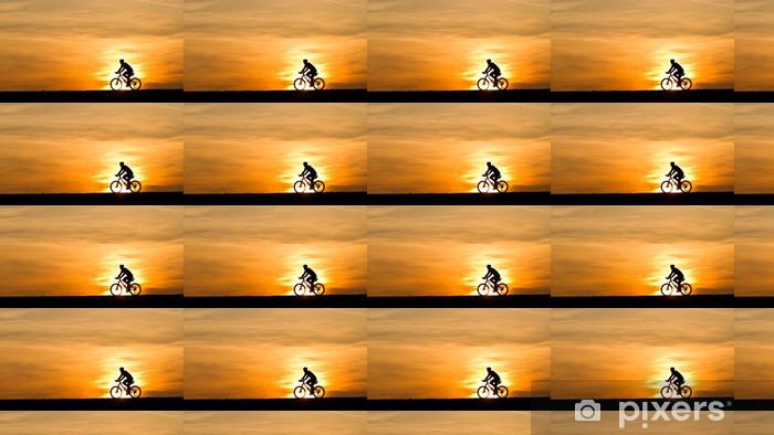 Tapeta na wymiar winylowa Silhoette Biker w zachodzie słońca - Sporty indywidualne