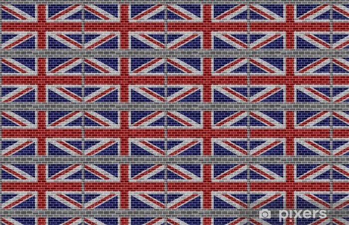Papier peint vinyle sur mesure Drapeau de la Grande-Bretagne sur le gris brickswall - Thèmes